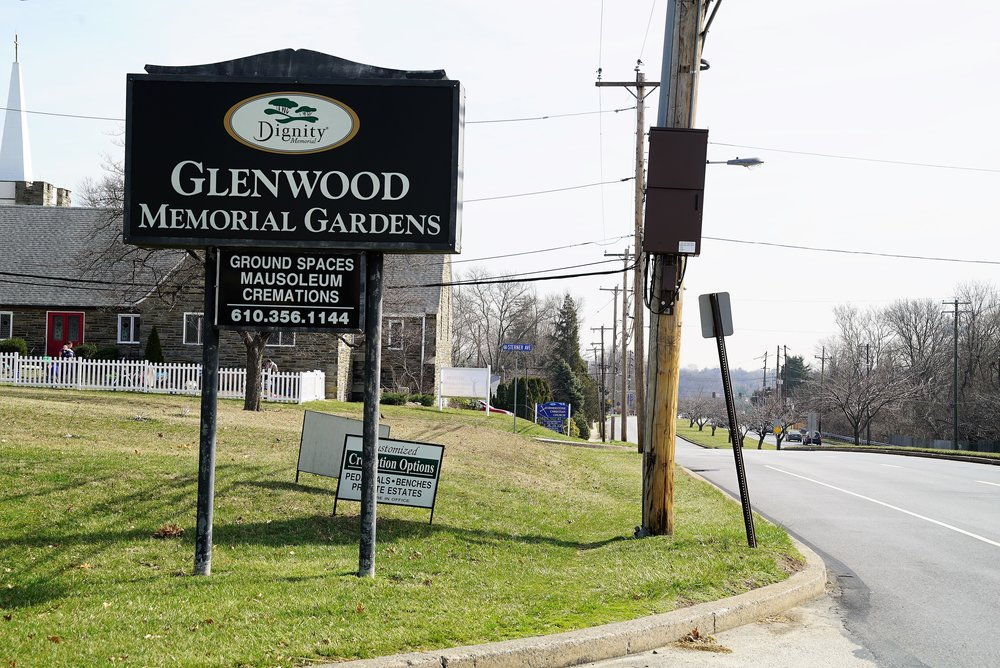 Entrance to Glenwood Memorial Gardens Cemetery, Broomall, Pennsylvania.