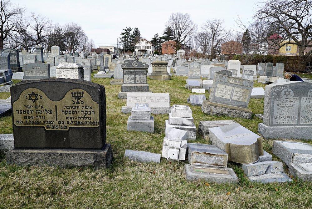 Vandal damage a Mount Carmel Cemetery. Philadelphia, PA.