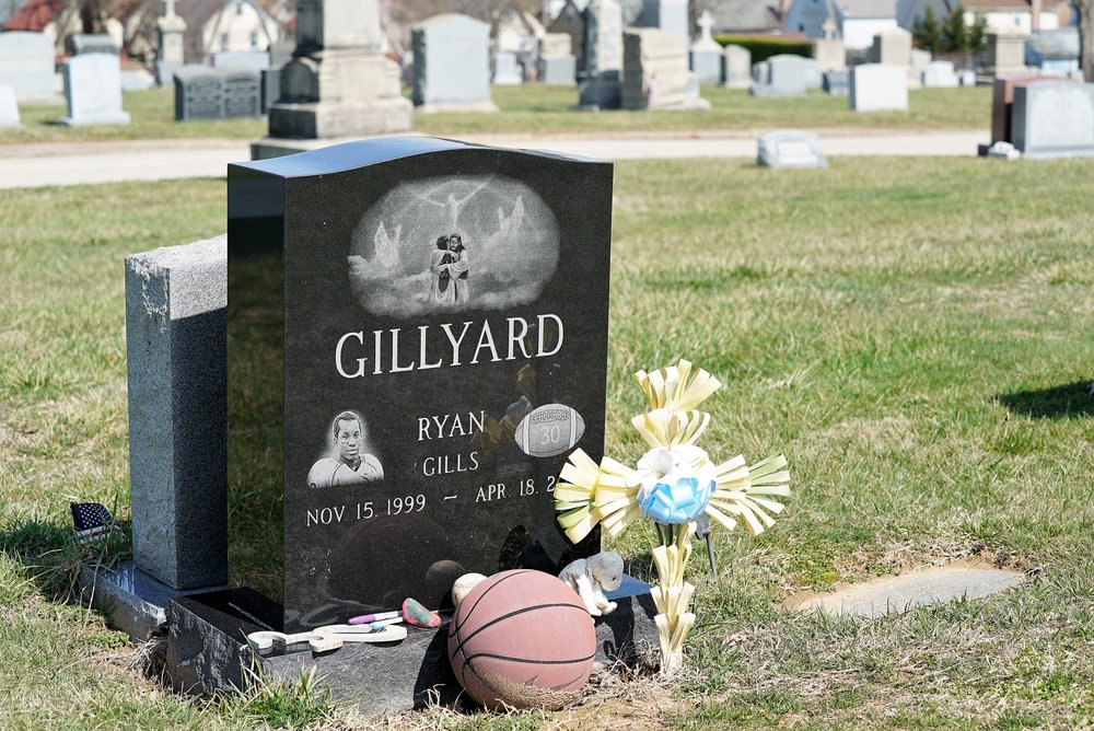 Ryan Gillyard, the 15 year old teen who died during football practice in 2015, is buried here. The tragedy was widely reported in the press. (It was unknown that he had a heart condition.) Saint Denis Cemetery. Havertown, Pennsylvania.