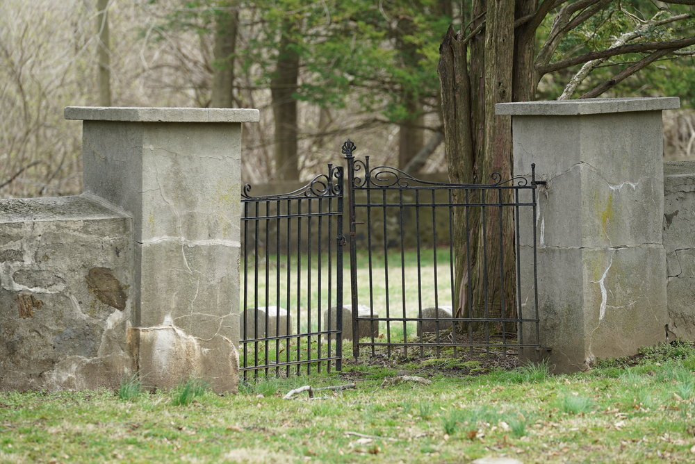 An entrance to a cemetery inside the cemetery. Concord Friends Meetinghouse Cemetery. Glen Mills, PA.