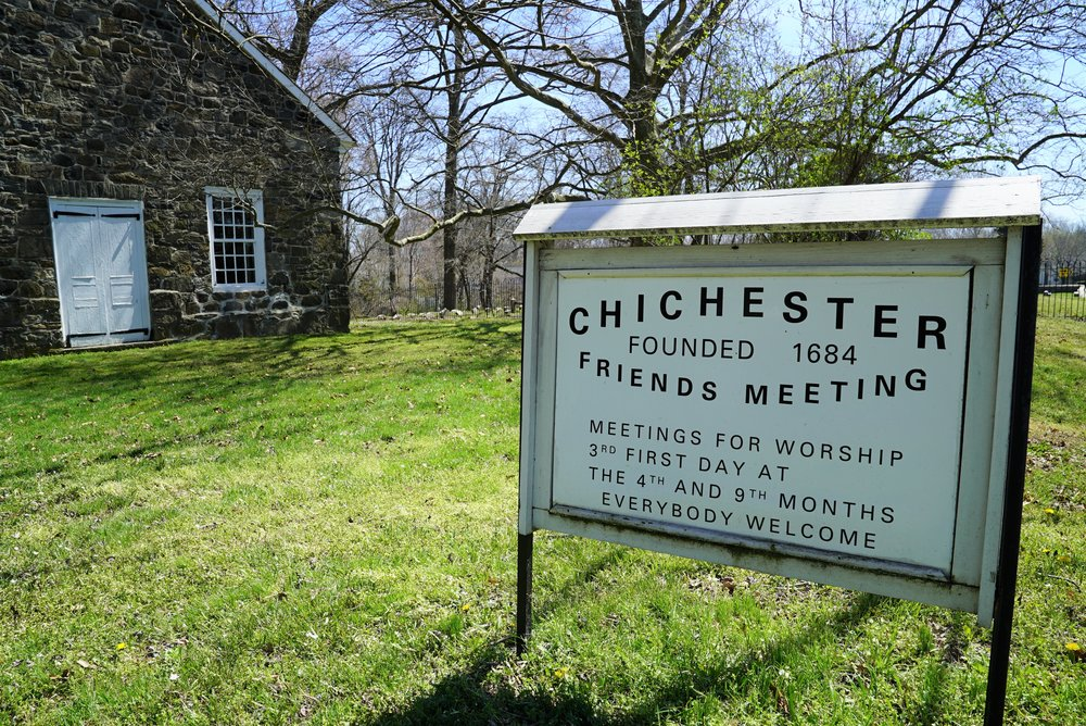 Outside the Chichester Friends Meeting Cemetery. Upper Chichester Township, Pennsylvania.