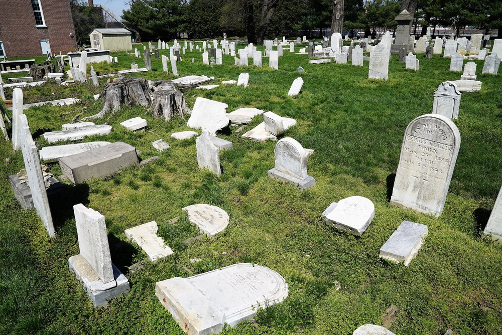 Tombstones waiting for help. Marcus Hook Bible Presbyterian Church Cemetery.