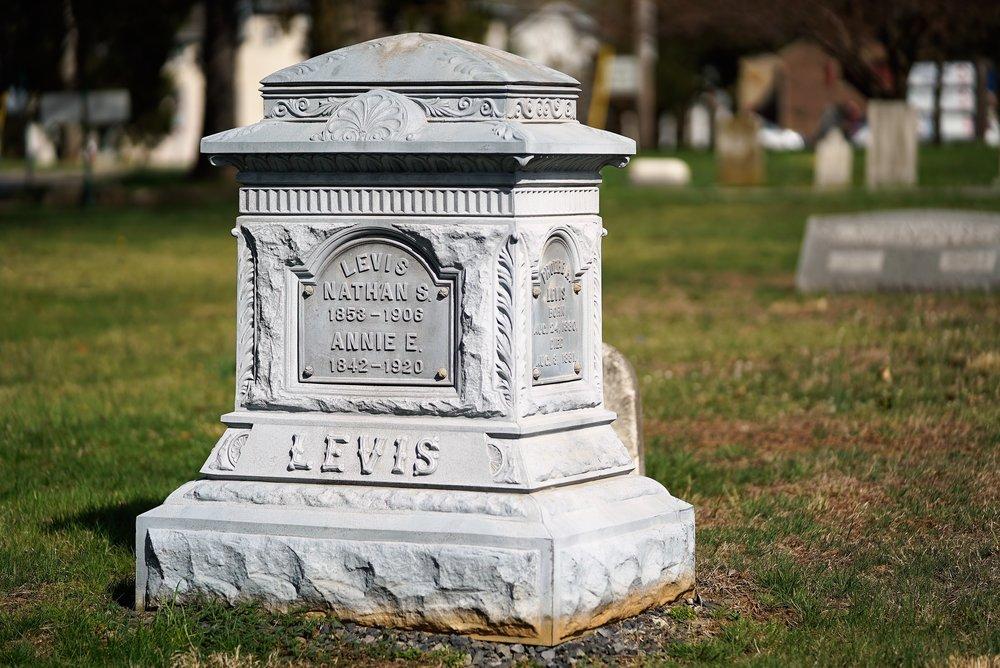 Unusual tombstone at Green Tree Cemetery. Oaks, Pennsylvania.