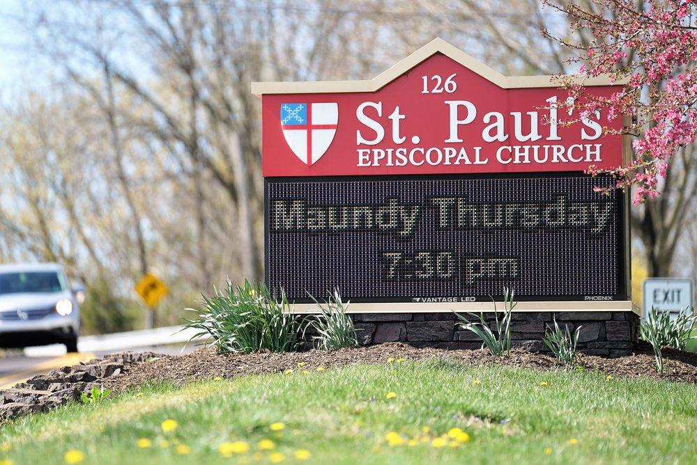 St. Paul's Episcopal Church Cemetery road sign. Oaks, Pennsylvania.