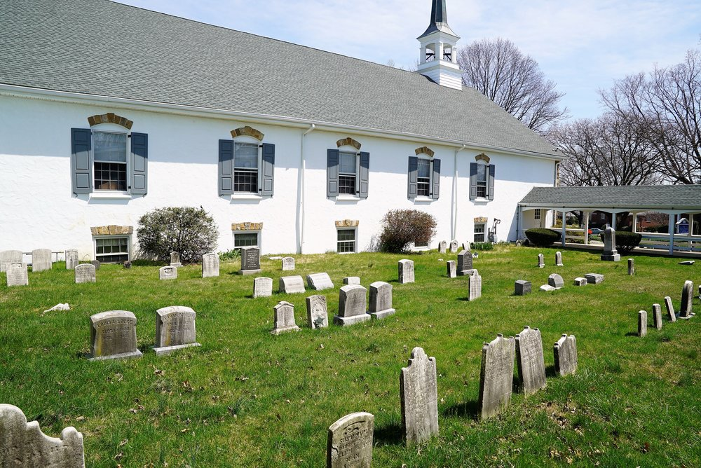 Mini-cemetery at The Blue Church. Springfield, Pennsylvania.