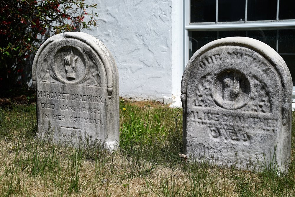 Old tombstones at The Blue Church. Springfield, PA.