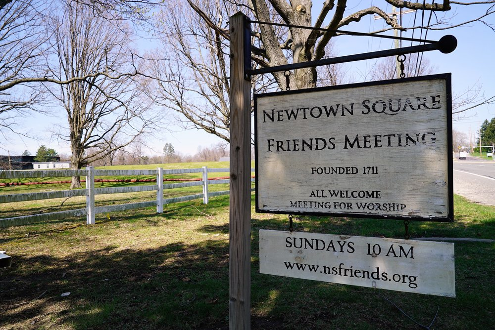 At the entrance to the Newtown Square Friends Meeting Burial Ground. Newtown Square, Pennsylvania.