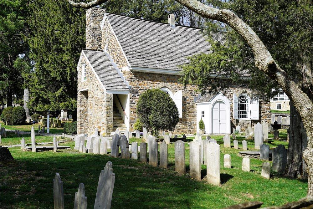 The original church at St. David's Episcopal Church Cemetery. Wayne, PA.