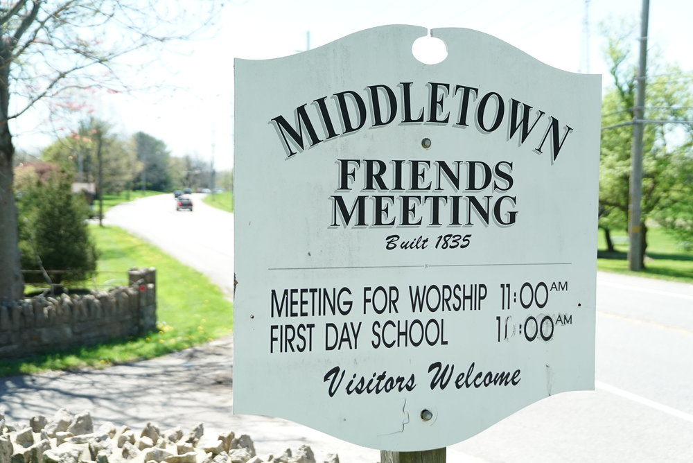 Roadside sign to Middletown Friends Meeting Cemetery. Middletown, Pennsylvania - Delaware County.