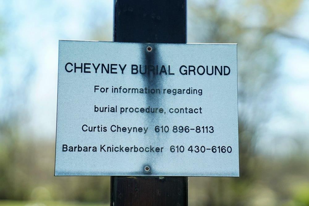 Sign at Cheyney Family Burial Ground. Thornton, Pennsylvania.