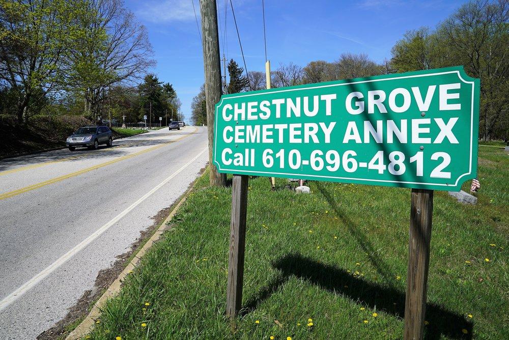 Chestnut Grove Cemetery Annex roadside sign. West Chester, Pennsylvania.