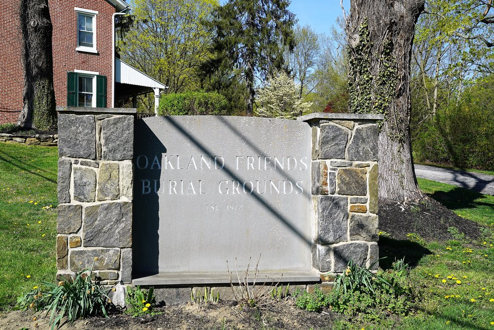 Sign at the entrance to Oakland Friends Burial Grounds. West Chester, Pennsylvania.