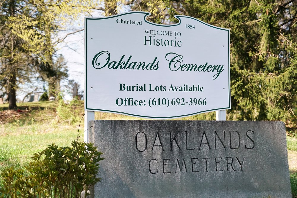 Sign at the entrance to Oaklands Cemetery. West Chester, Pennsylvania.