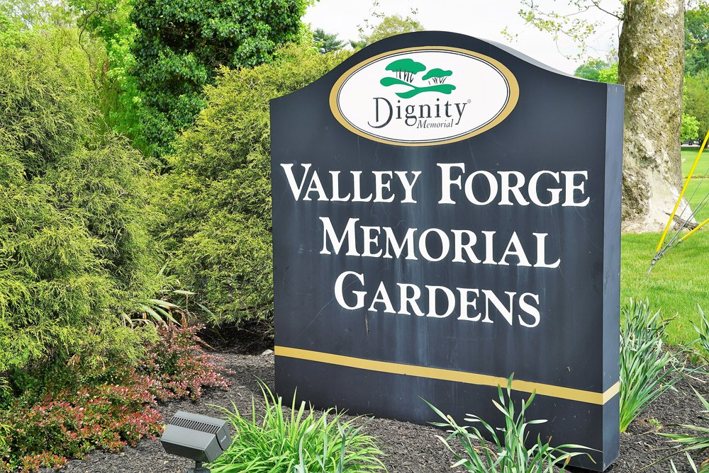 Sign at the entrance to Valley Forge Memorial Gardens. King Of Prussia, Pennsylvania.