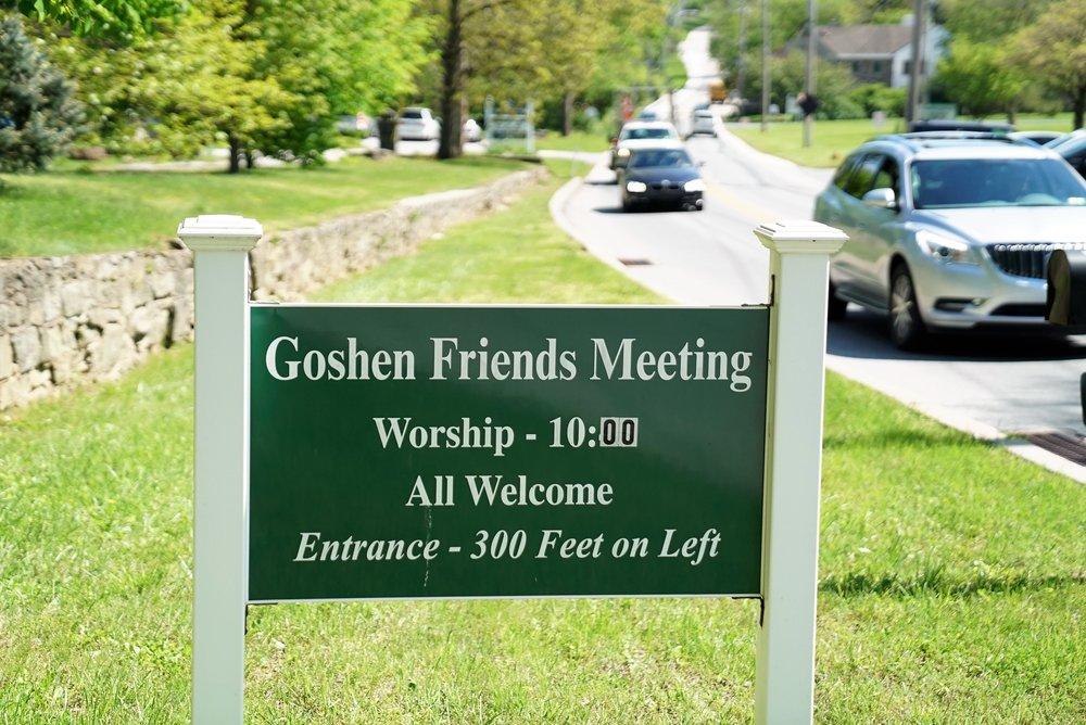 Roadside sign. Goshen Friends Meeting Cemetery. East Goshen, Pennsylvania.