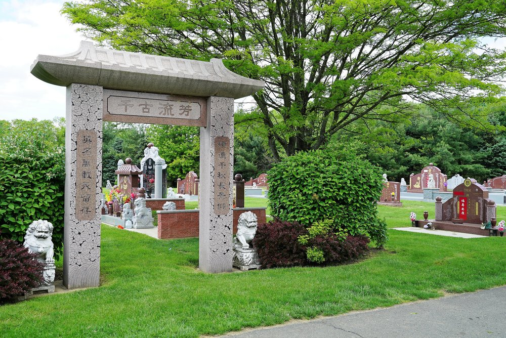 The scene in one of the Asian sections. Hillside Cemetery. Roslyn, Pennsylvania.