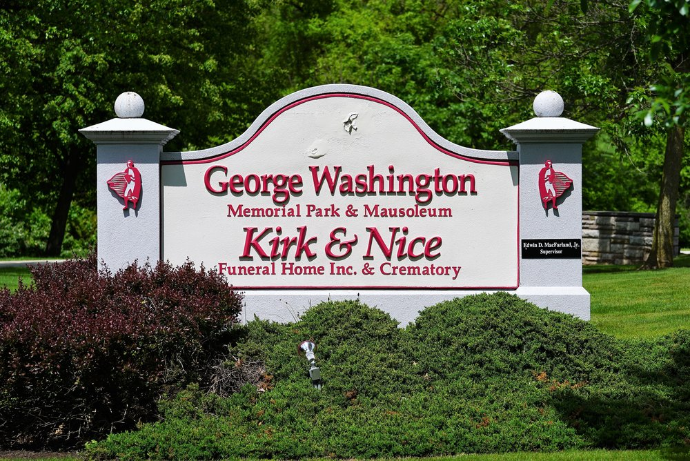 Sign at the entrance to George Washington Memorial Park Cemetery. Plymouth Meeting, Pennsylvania.
