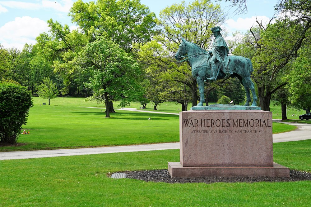 Horse monument inside George Washington Mememorial Park Cemetery. Plymouth Meeting, Pennsylvania.