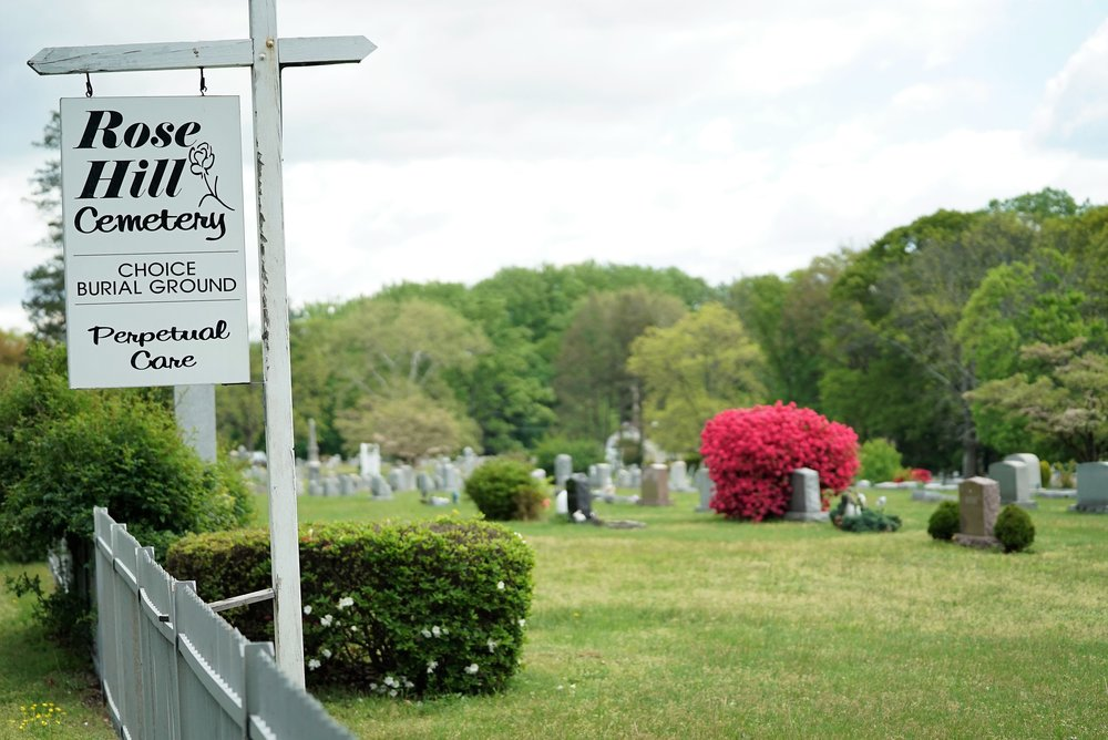 Roadside sign at Rose Hill Cemetery. Ambler, Pennsylvania.