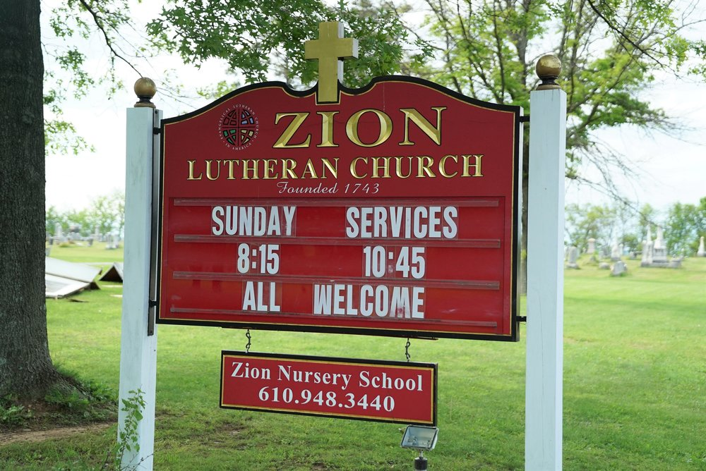 Roadside sign at Zion Lutheran Church Cemetery. Spring City, Pennsylvania.