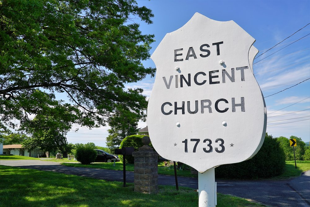 Sign at the entrance to East Vincent United Church Of Christ. Spring City, Pennsylvania.