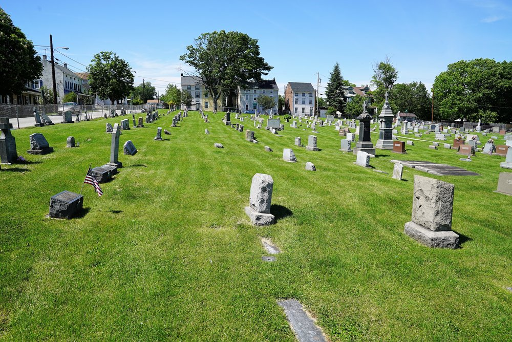 A view of the cemetery at St. Mary Of The Assumption Church. Phoenixville, Pennsylvania.