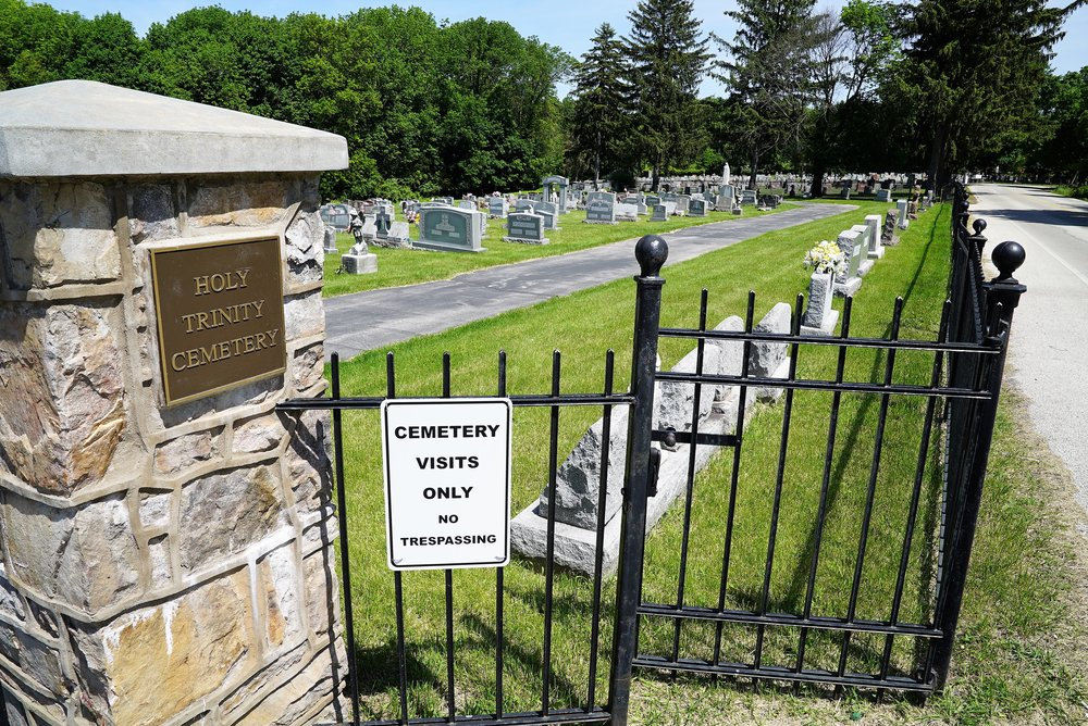 At the entrance to Holy Trinity Cemetery. Phoenixville, Pennsylvania.