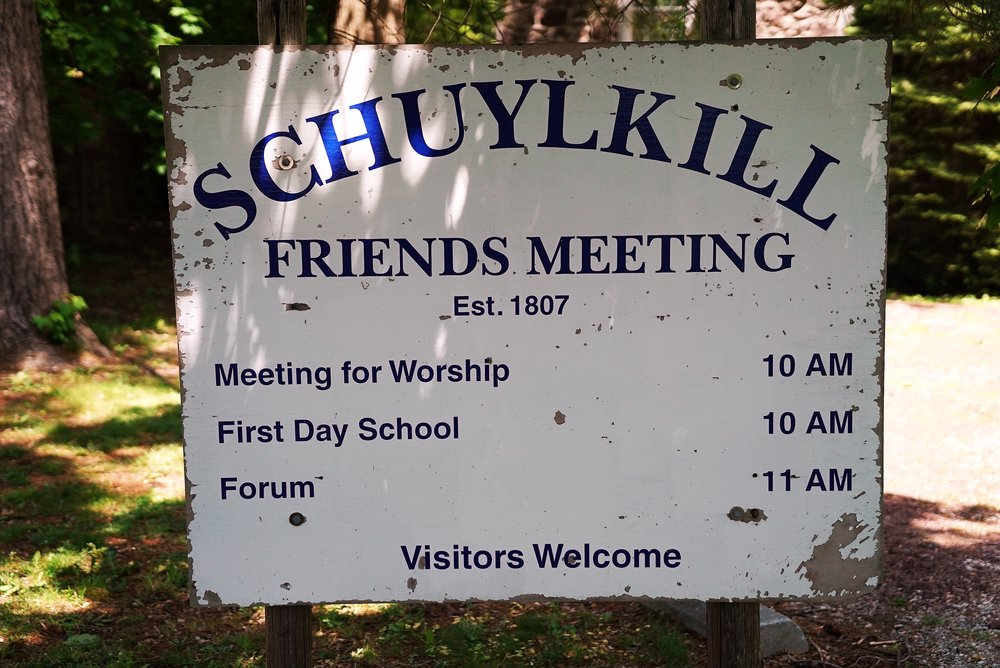 At the entrance to the Schuylkill Friends Meeting, where they have an old cemetery in the back yard. Phoenixville, Pennsylvania.