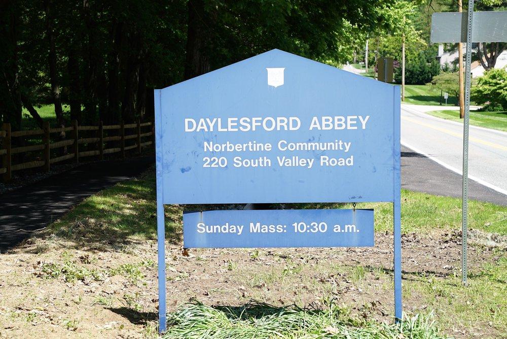 Roadside sign: Daylesford Abbey. Paoli, Pennsylvania.