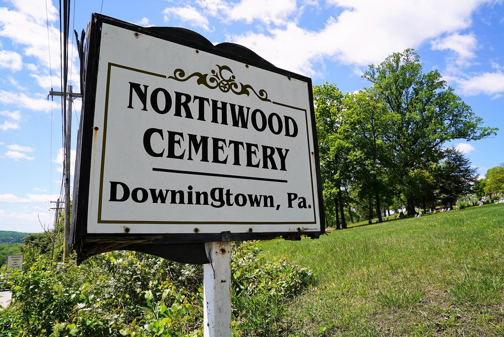 Northwood Cemetery entrance sign. Downingtown, Pennsylvania.