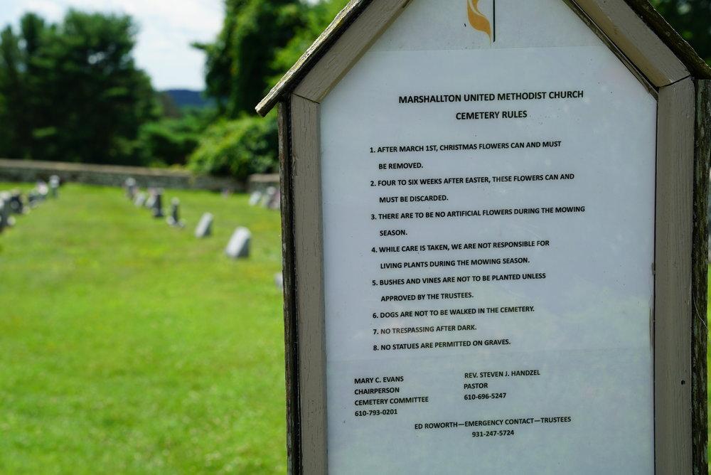 The rules: Marshallton United Methodist Church Cemetery. Marshallton, Pennsylvania.