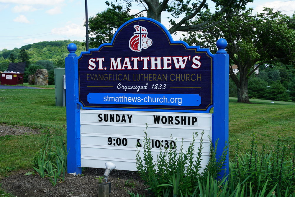 Sign at St. Matthews Lutheran Church Cemetery. Chester Springs, Pennsylvania.