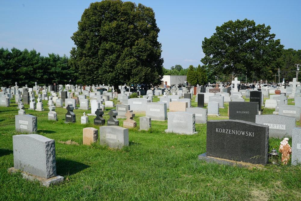 St. Mary's Ukrainian Cemetery. Fox Chase, Pennsylvania. The grass is a little high.