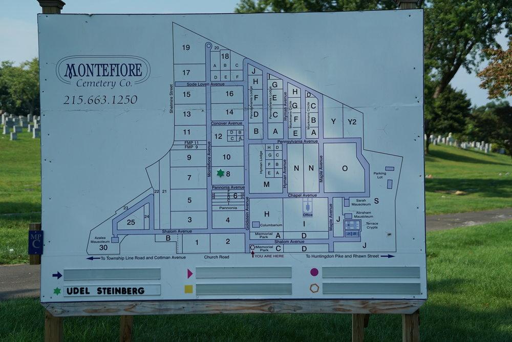 Map of Montefiore Cemetery. Jenkintown, Pennsylvania.