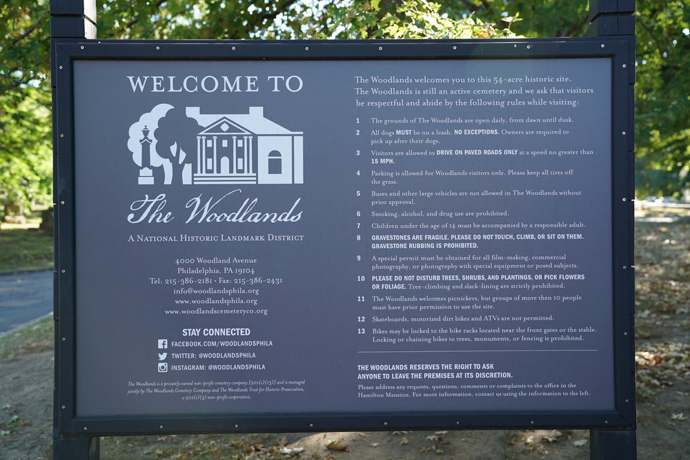 Sign at entrance to the Woodlands Cemetery. Philadelphia, Pennsylvania.