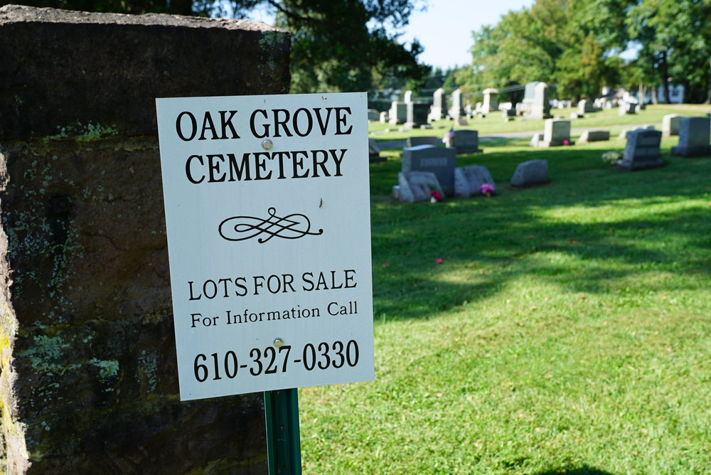 A large amount of burial space is still available here. Oak Grove Cemetery. Parker Ford, Pennsylvania.