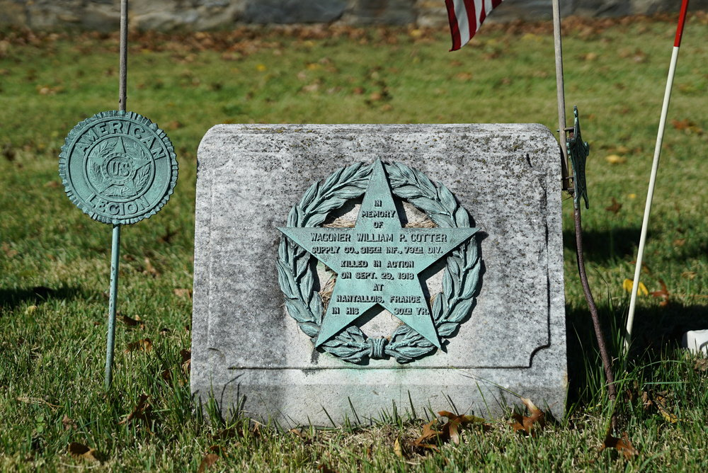 A memorial to a fallen World War I soldier. Radnor United Methodist Church Cemetery. Bryn Mawr, Pennsylvania.