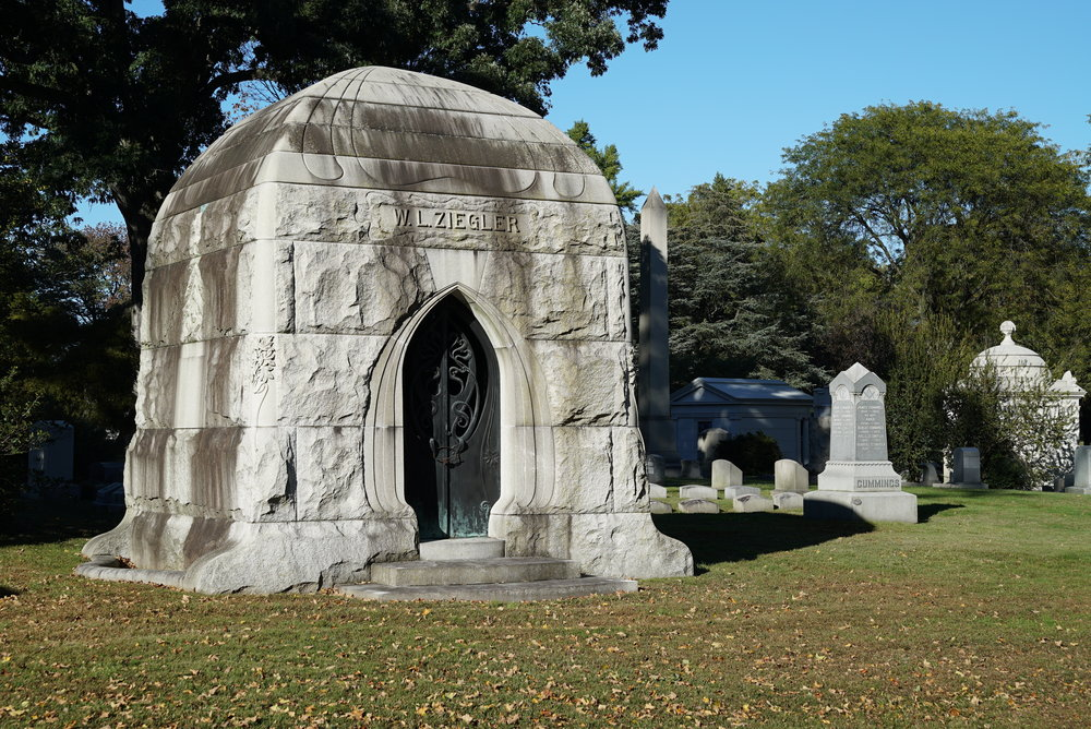 A mausoleum at West Laurel Hill Cemetery Bala Cynwyd, Pennsylvania.