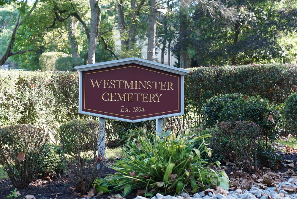 Sign at the entrance to Westminster Cemetery. Bala Cynwyd, Pennsylvania.