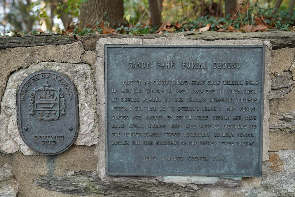 At the entrance to the very ancient Sandy Bank Burial Ground. Media, Pennsylvania.