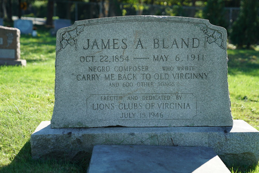 James A. Bland is buried here. Famous musician. Merion Memorial Park Cemetery. Bala Cynwyd, Pennsylvania.