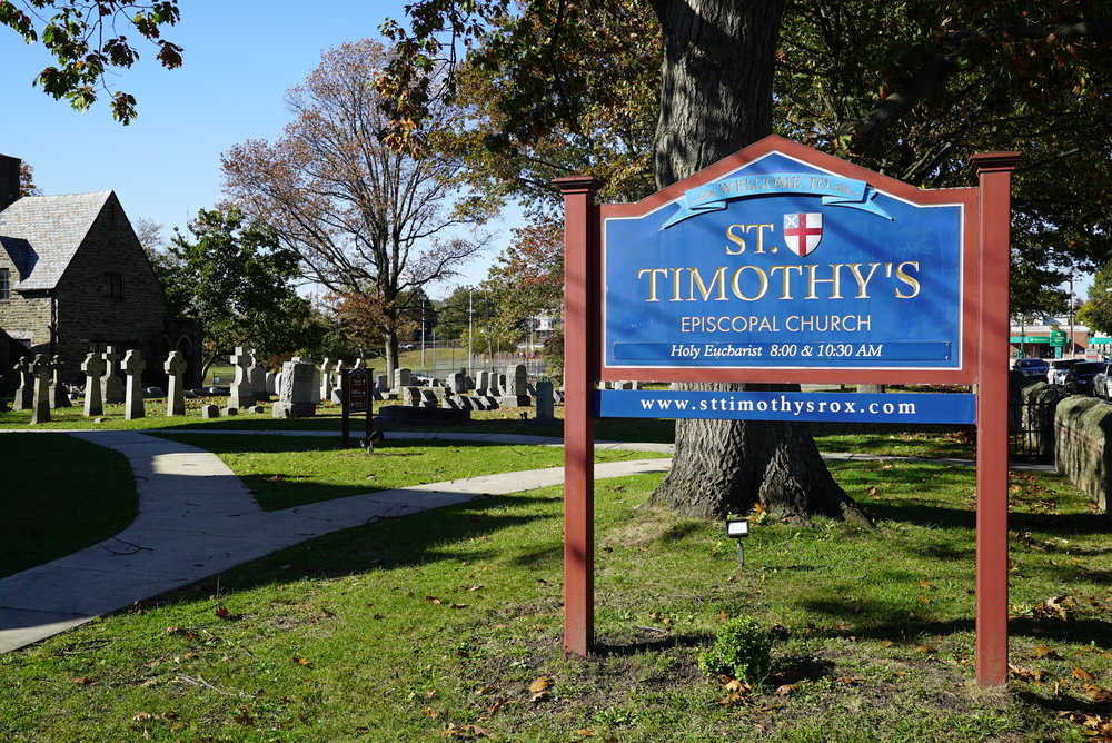 Sign in front of St. Timothy's Episcopal Church Cemetery. Philadelphia, Pennsylvania.