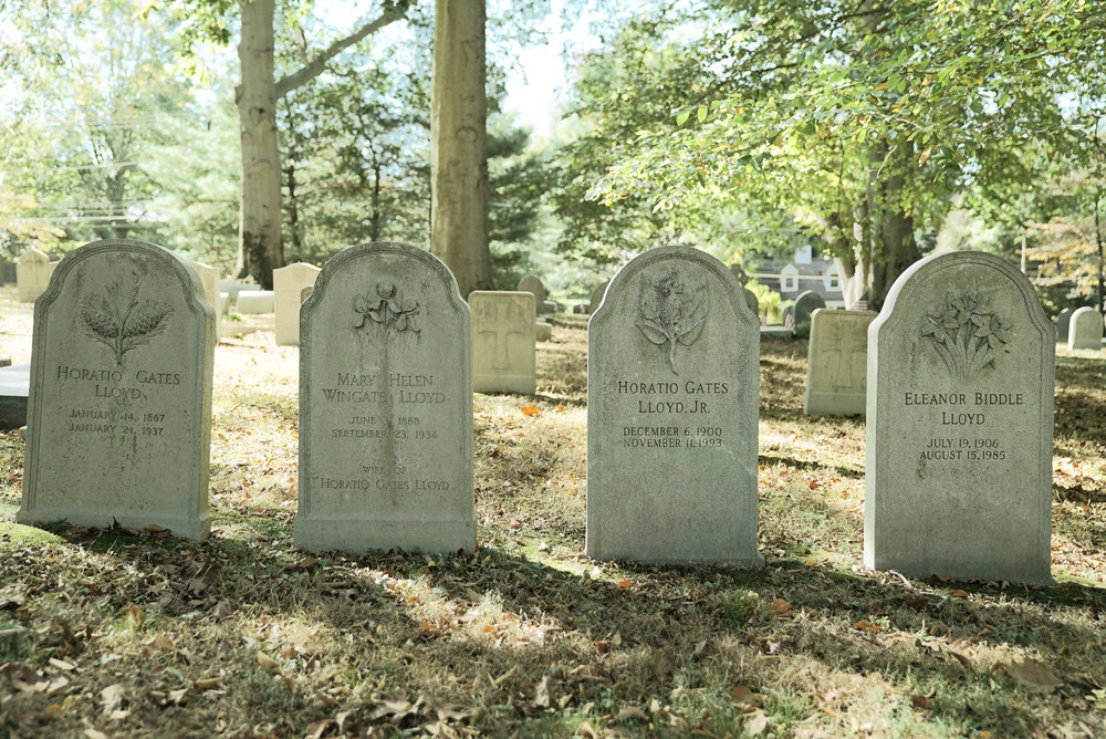 Grave stones at Church of the Redeemer Cemetery. Bryn Mawr, Pennsylvania.