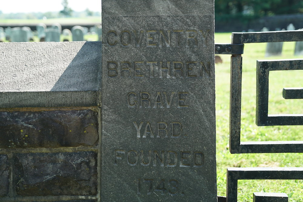 At the entrance to the Coventry Brethren Grave Yard. North Coventry Township, Pennsylvania.