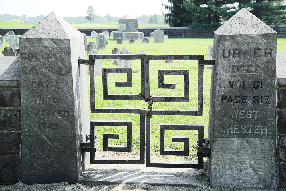 Entrance to the Coventry Brethren Grave Yard. South Pottstown area. Chester County, Pennsylvania.