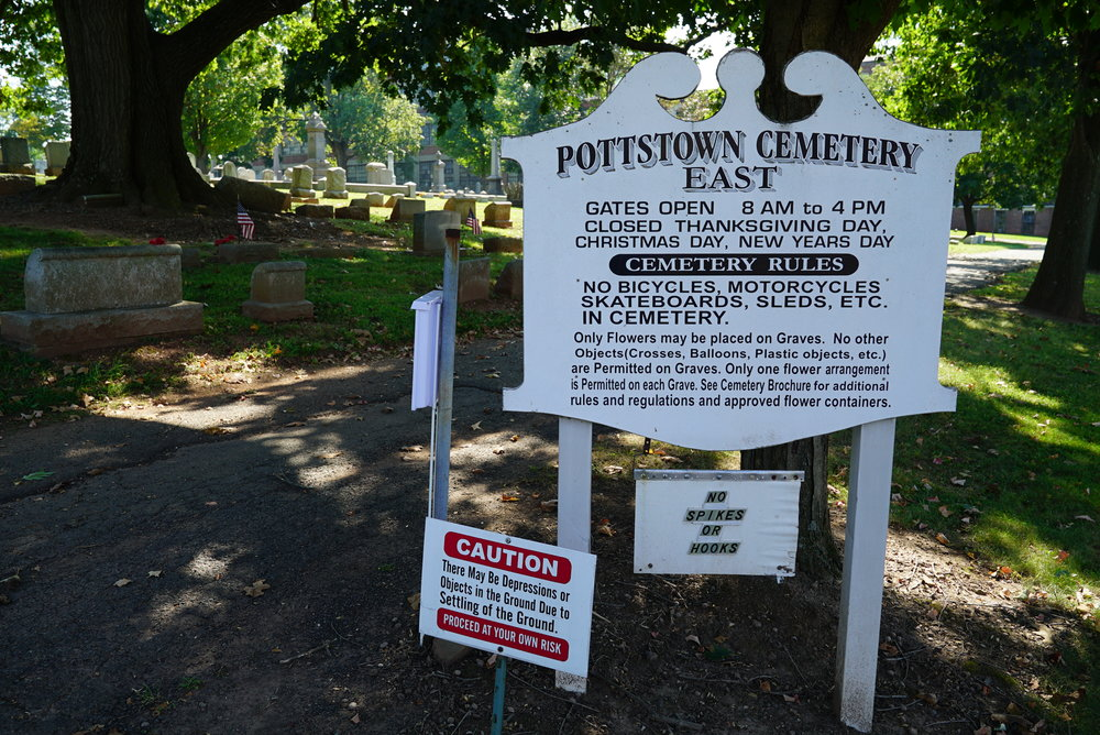 At the entrance to the east side of Pottstown Cemetery, Pottstown, Pennsylvania.