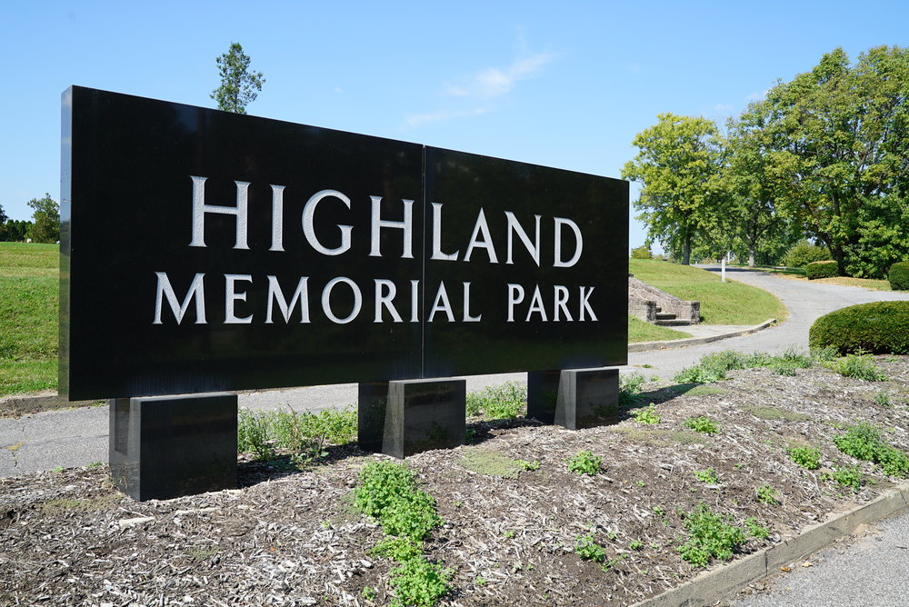 Sign at the entrance to Highland Memorial Park Cemetery. Pottstown, Pennsylvania.
