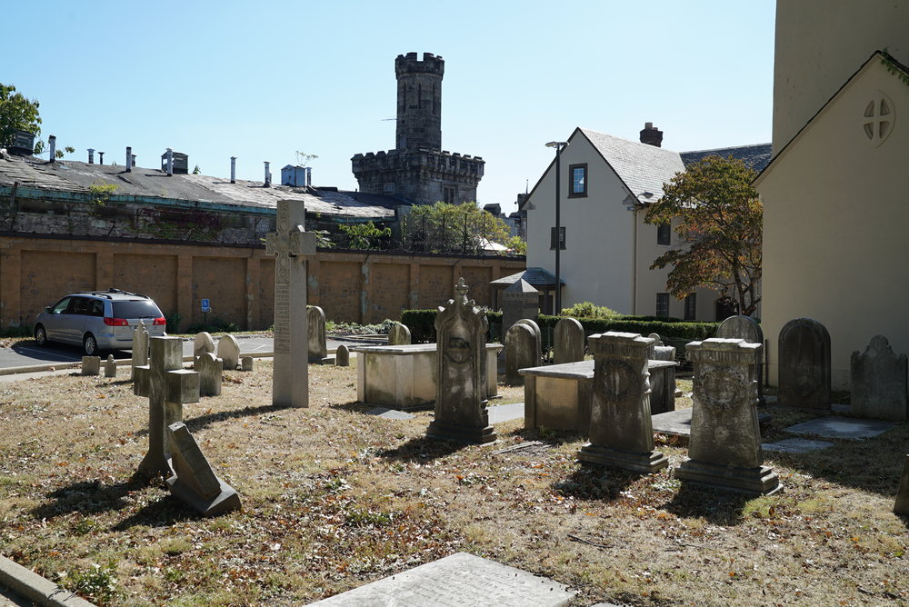 The cemetery is behind the church. St. John's Episcopal Church Cemetery. Norristown, Pennsylvania.
