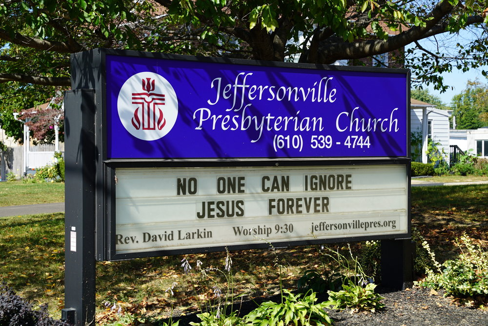 Sign in front of Jeffersonville Presbyterian Church. West Norriton Township, Pennsylvania.
