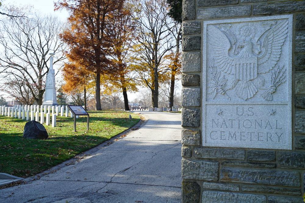 At the entrance to Philadelphia National Cemetery. Philadelphia, Pennsylvania.